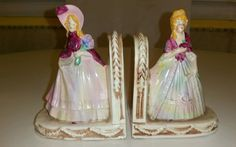 VINTAGE VICTORIAN LADY FIGURINE BOOKENDS