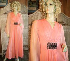 70's Floaty Peach Maxi Dress, Boho Chiffon Bell Sleeves, from Morning Glorious Vintage