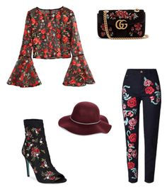 """Flower"" by cristina-7914 on Polyvore featuring beauty, Betsey Johnson, Gucci and San Diego Hat Co."