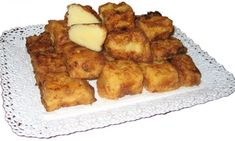 Leche frita Spanish Food, French Toast, Deserts, Chicken, Meat, Breakfast, Drinks, Cold, Recipes