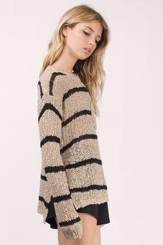 Sweaters, Tobi, Taupe & Black Cambria Striped Knit Sweater