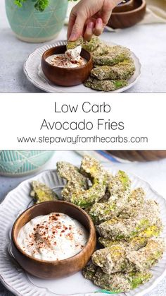 Low Carb Avocado Fries These low carb avocado fries are addictive! A super soft middle with a crunchy, nutty coating, all served with a creamy chipotle dip. Keto and gluten free recipe! #lowcarb #lowcarbrecipes #avocadofries #ketorecipes<br> Healthy Low Carb Dinners, Low Carb Recipes, Healthy Recipes, Low Fat Low Carb, High Protein Low Carb, Vegetarian Recipes Videos, Ketogenic Recipes, Lunch Recipes, Dinner Recipes