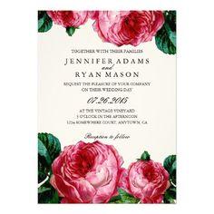 VINTAGE FLORAL DECOUPAGE WEDDING INVITATION; pink english roses