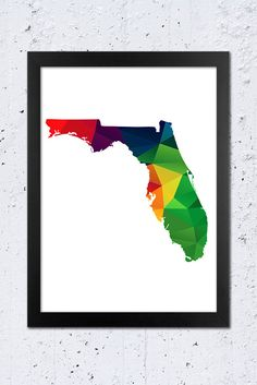 Florida Map Printable File, Florida State Silhouette Geometric Pattern in Red, Green Blue, Yellow, Orange, Purple Colors.  **This listing is for a