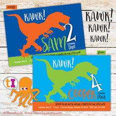 T-Rex Dinosaur Birthday Party Invitation for kids by TBoneSquid