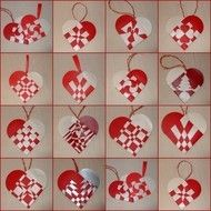 """""""Julehjerter"""" are traditional Danish Christmas decorations woven from paper. They can be filled with sweets or candies if desired. Choose from any of the pictured designs"""