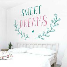 Vinilos decorativos, papel tapiz, fotomurales y cenefas infantiles Watercolor Design, House Painting, Sweet Dreams, Wall Decals, Kitchen Decor, Sweet Home, New Homes, Diy Crafts, Lettering