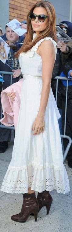 Eva Mendes: Sunglasses – Thierry Lasry Shoes – Prada Dress – Vintage