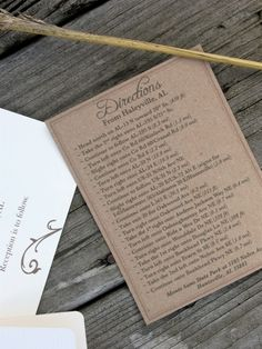 Rustic ivory wedding invitation Directional Cards