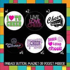 "Cheerleader BUTTONS or MAGNETS or mirrors cheer I love badges cheerleading pin team spirit high school professional mom 1.25"" or 2.25"" E29 by CustomButtonShop on Etsy https://www.etsy.com/listing/209724546/cheerleader-buttons-or-magnets-or"