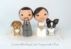Weddbook is a content discovery engine mostly specialized on wedding concept. You can collect images, videos or articles you discovered  organize them, add your own ideas to your collections and share with other people - Custom wedding cake toppers 2 pets bride and groom (or 2 brides or 2 grooms), that I will paint just for you.   **These are MADE TO ORDER. They take about 10 days to paint right now.**  These dolls are about 2 1/2 cute inches (6 cm) tall, so they are fairly small, and will…