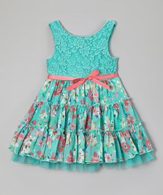 http://www.zulily.com/invite/vhanson979Look at this #zulilyfind! Mint Floral Lace Tiered Dress - Toddler by Zunie & Pinky #zulilyfinds