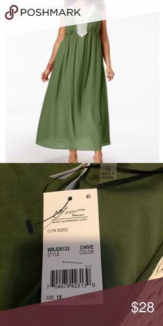 d3ff24e74cb Ny Collection Plus Size Maxi Dress 1X Ny Collection Plus Size Crochet-Trim  Crinkle Maxi