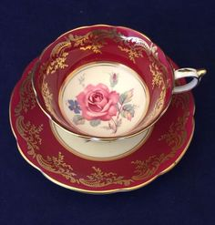 Stunning Vintage PARAGON Floral Center Burgundy & Gold Cup and Saucer Set 6901 #PARAGON