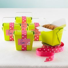 Take-Out Cartons - a fun way to wrap favors!