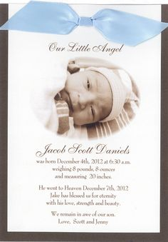 Baby Memorial Service Remembering Child Stillborn