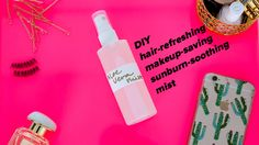 This DIY spray  helps with flyaways, dry hair, makeup refreshing, and sunburn soothing (AND it fits in your purse!).