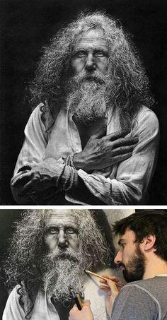 Artist: Emanuele Dascanio, Milan, Italy {hyperreal male head bearded man face pencil portrait drawing progression}