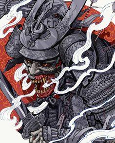 Japanese Tattoo Art, Japanese Tattoo Designs, Japanese Sleeve Tattoos, Neo Traditional Art, Traditional Japanese Tattoos, Oni Samurai, Samurai Warrior, Oni Art, Oni Tattoo