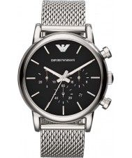 Mens Emporio Armani Mens Classic Chronograph Black Silver Mesh Bracelet Watch 173.00 Watches2U