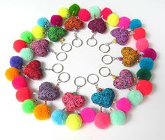 Love You Keychain Handcrafted Textile Heart Seed Beads Pom Poms Wedding Favours Gifts for Her Gifts for Friend Gift for Women 10+