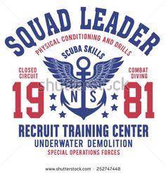 Scuba Training center typography, t-shirt graphics, vectors, sport, - stock vector