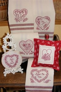 Hearts & Flowers RedWork Tea Towels~download pattern