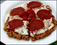 Hungry Girl's Pepperoni Pizza - crust is made of Egg Beaters, Fiber One crumbs and oats... hmmmm.... 6pp