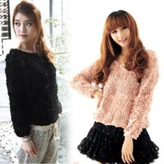3D Mesh Lace Rose Floral Long Sleeve Shirt Jumper Top Sweater