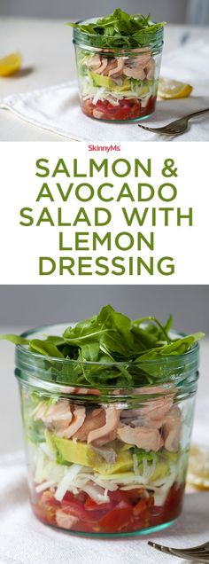 Craving something satisfying in a hurry? This delicious grab-and-go salmon & avocado salad with lemon dressing has got you covered! #salad #easyrecipe