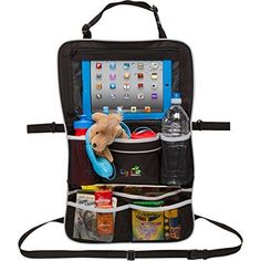 rugged universal backseat car organizer includes ipad holder large drink pockets for diapers