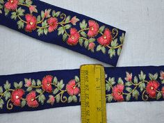 Indian Sari Border Fabric Trim By The Yard Embroidered Ribbon