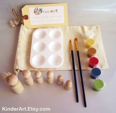 DIY Wooden Build a Family Wooden People Paint Kit in a Bag Arts and Crafts Kit for Kids Childrens Gifts, Kids Gifts, Gifts For Girls, Craft Gifts, Craft Kits For Kids, Fun Crafts For Kids, Crafts To Sell, Arts And Crafts, Wooden People