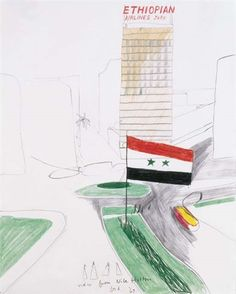Artwork by David Hockney, View from Nile Hilton, Made of colored wax crayons and pencil on paper