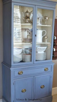 """15  Fabulous Furniture Makeovers! - Annie Sloan Chalk Paint Old Violet - READ SITE TO LEARN HOW TO ADD """"FEET"""" TO THIS CABINET."""