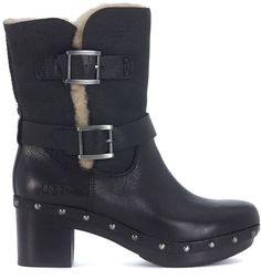 af9e34b87b UGG Brea Ankle Boots In Black Suede And Leather Brown Cowboy Boots