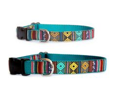 Ethnic dog collar Small dog collar Large dog collar Southwestern emerald geometric dog collar Mexican Tribal Aztec pet collars