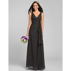Bridesmaid Dress Floor-length Chiffon Sheath/Column V-neck Dress – USD $ 69.99
