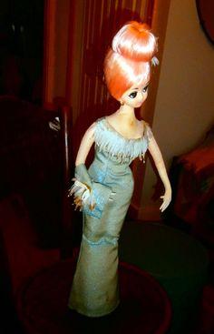 Vintage Large Holiday Fair Hedaya Pink Hair Fashion Doll Big Eyes Made in Japan