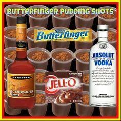 Butterfinger pudding shots
