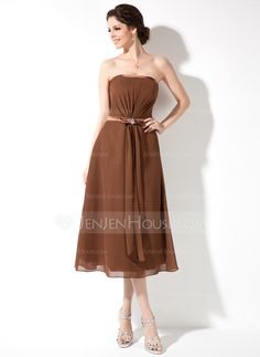 Bridesmaid Dresses - $89.99 - A-Line/Princess Strapless Tea-Length Chiffon Charmeuse Bridesmaid Dress With Ruffle Beading Bow(s) (007001095) http://jenjenhouse.com/A-Line-Princess-Strapless-Tea-Length-Chiffon-Charmeuse-Bridesmaid-Dress-With-Ruffle-Beading-Bow-S-007001095-g1095