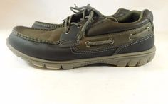 Thom McAn Men's Boat Shoe Grey Navy Blue Three-Eye Lace Up Shoes Size 12M #ThomMcAn #BoatShoes