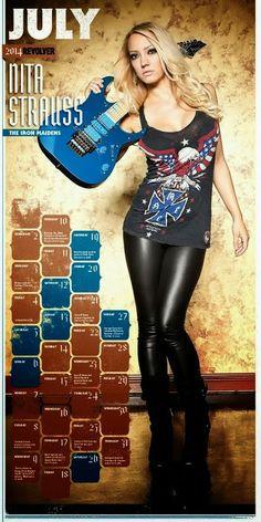 Nita Strauss ~ Thank you REVOLVER Magazine for including me in the 2014 Hottest Chicks in Hard Rock calendar! Guitar Girl, Instrumental, Nita Strauss, Heavy Metal Girl, Women Of Rock, Rocker Chick, Female Guitarist, Iron Maiden, Girl Bands