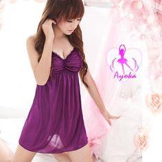 A245 Purple  - 2pc : dress, gstring  Free Size LD 70-86cm, Hips 70-90cm, Bra 32-34    IDR 92.000