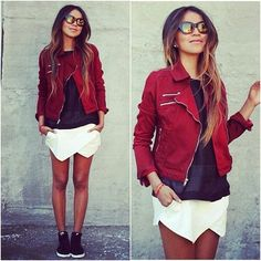 Red leather jacket,black shirt and white oragami skirt