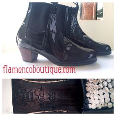 Begona Cervera flamenco boot with zipper. Black Patent leather.  Men's Size 39. Perfect for a student or professional young dancer #bailaor  Boto II con cremallera. Talla 39. Charol Negro.   Professional flamenco shoes Www.flamencoboutique.com