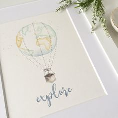 Heres to all the little explorers! The perfect addition to your travel theme nursery, this 8x10 or 11x14 hand painted piece of original art is made to order just for you! A mint and golden globe floats as a hot air balloon in this whimsical and sweet take on the classic. Nothing