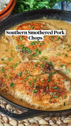 Pork Recipes, Cooking Recipes, Smothered Chicken Recipes, Easy Pork Chop Recipes, Baked Chicken, Pork Chop Dinner, Pork Chop Meals, Pork Dishes, Southern Recipes
