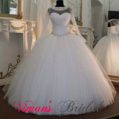 Long Sleeve Wedding Gown Puffy Boat Neck Corset Back Crystal Beaded Tulle Modest Wedding Dresses With Sleeves Free Shipping GH38