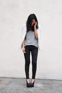 black jeans, white blazer